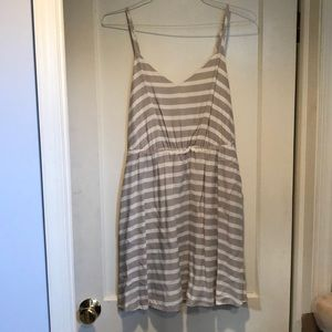Tan and white striped dress size 10
